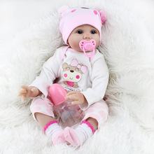 "21.5"" Simulated baby rebirth wear soft cloth body girl toy gift plastic doll Handmade"