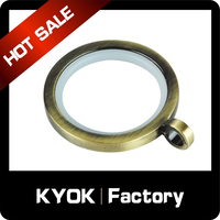 KYOK fancy plastic eyelets silver curtain tape rings,customized aluminum connector,22mm curtain rods rail accessories