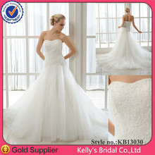 hot sale elegant strapless heavy beading on top soft tulle skirt mermaid style ivory and burgundy wedding dress