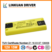 12V 1.25A ultrathin constant voltage LED driver with SAA,TUV,CCC certificate for cabinet lights