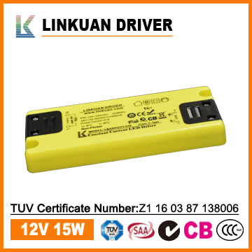 Ultra slim 15mm 12VDC constant voltage smps LED driver with SAA TUV