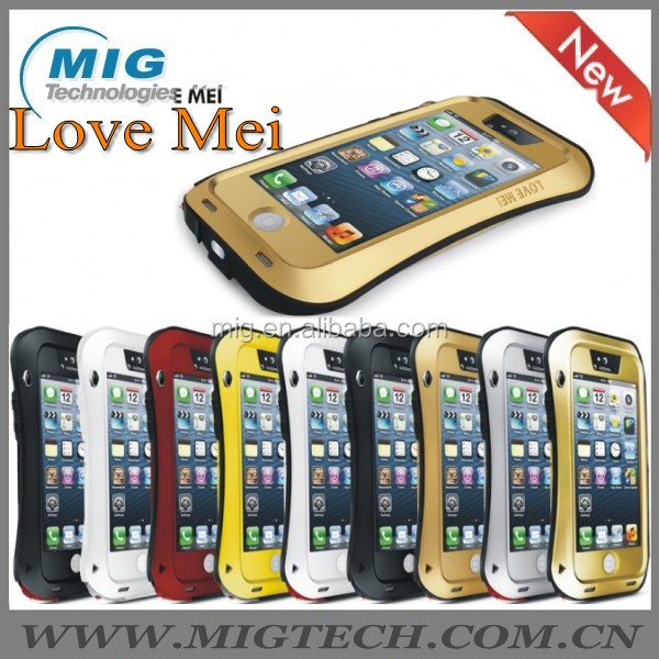 Love Mei brand Tri protect samll waist style AL metal cell phone case for iphone 5 5S, for iphone 5 phone accessory