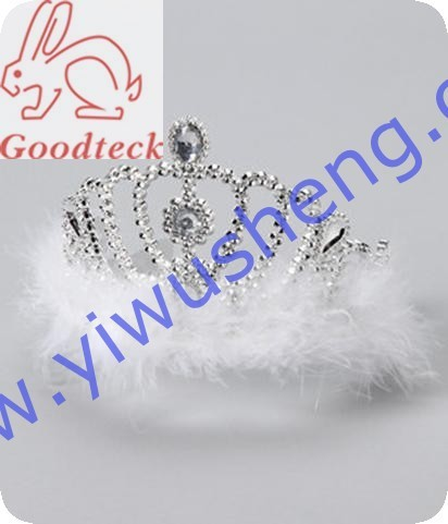 wholesale new designs birthday girl rhinestone tiaras and crowns with ostrich feather,girls fashion tiara corwn