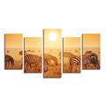 Canvas Art Print Home Wall Canvas Printing Decoration 5-Panel Group Printing of Zebra Gold Landscape Giclee Print