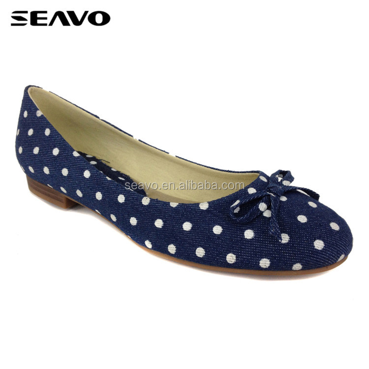 SEAVO SS18 new simple flats dot printing anti-slip bowknot cute navy blue casual shoes for women
