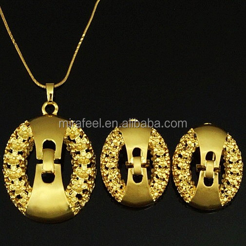 EP045 simple gold planted earring and pendant designs for women