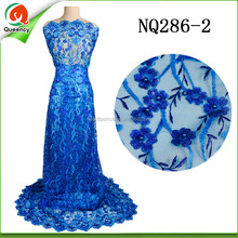 NQ286 Queency Latest Christmas African Lace Tulle Lace Fabrics with Sequins and Beads