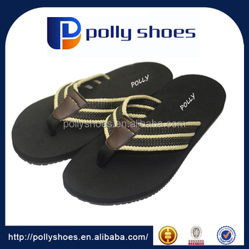 2017 Top sale latest model no heel Black sandals for men