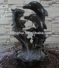 Grey Polyresin Three Dolphin Water Fountain