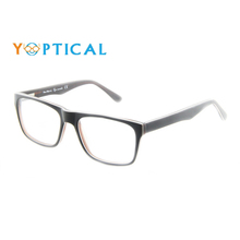 Wholesale Yoptical Men Black Demi Cellulose Acetate Spectacle Big Frames for Prescription Lenses CH1114