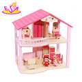 New design small pink wooden kids doll house for role play W06A261