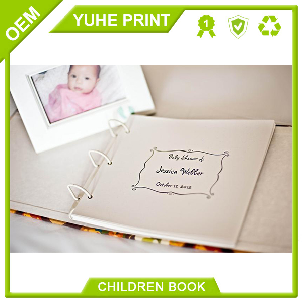 4C/0C manufactured in China debossed specialized superior glossy lamination printing recycled paper baby girl memory book printi