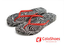 Ladies zebra-stripe PCU beach slipper
