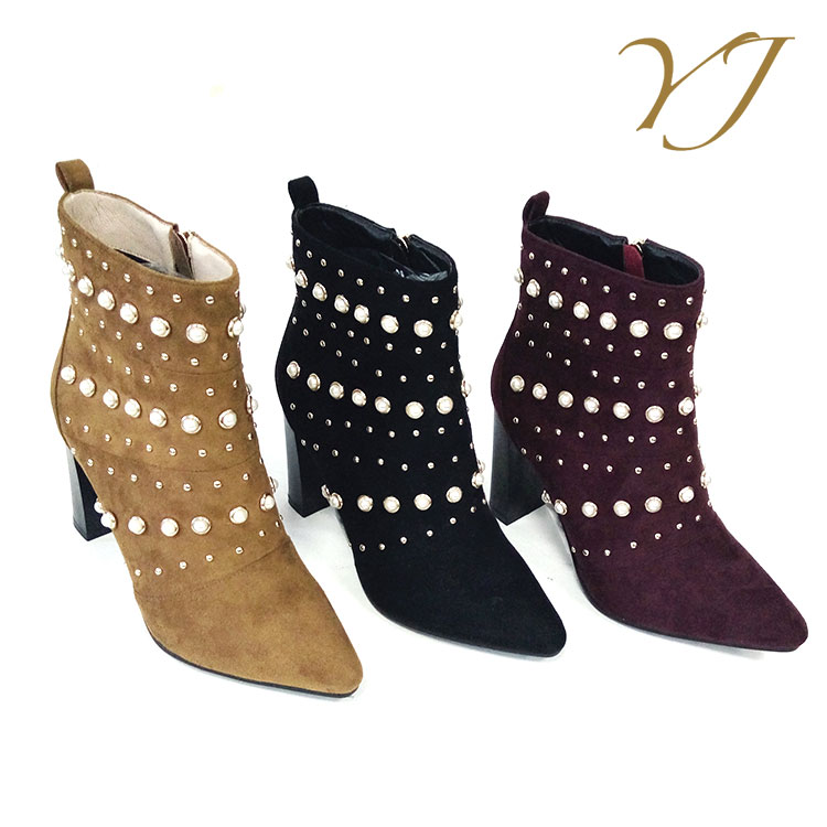 2017 New women casual shoes ladies ankle heel boots with crystals