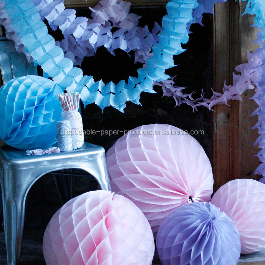Tissue Paper Honeycomb Balls Fans Garlands Valentine Paper Wedding Decorations Hanging Party paper tissue Decorations