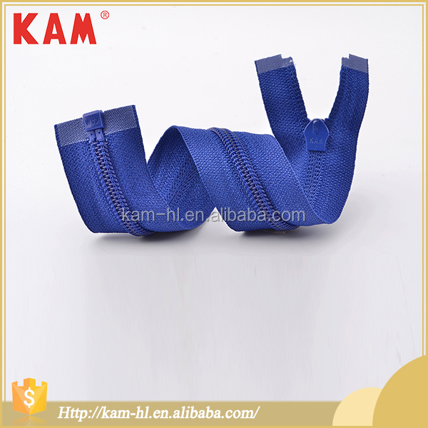 Customized china KAM blue waterproof nylon large zippers for jeans