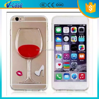 3d liquid red wine goblet phone case PC+TPU material case for iphone 6