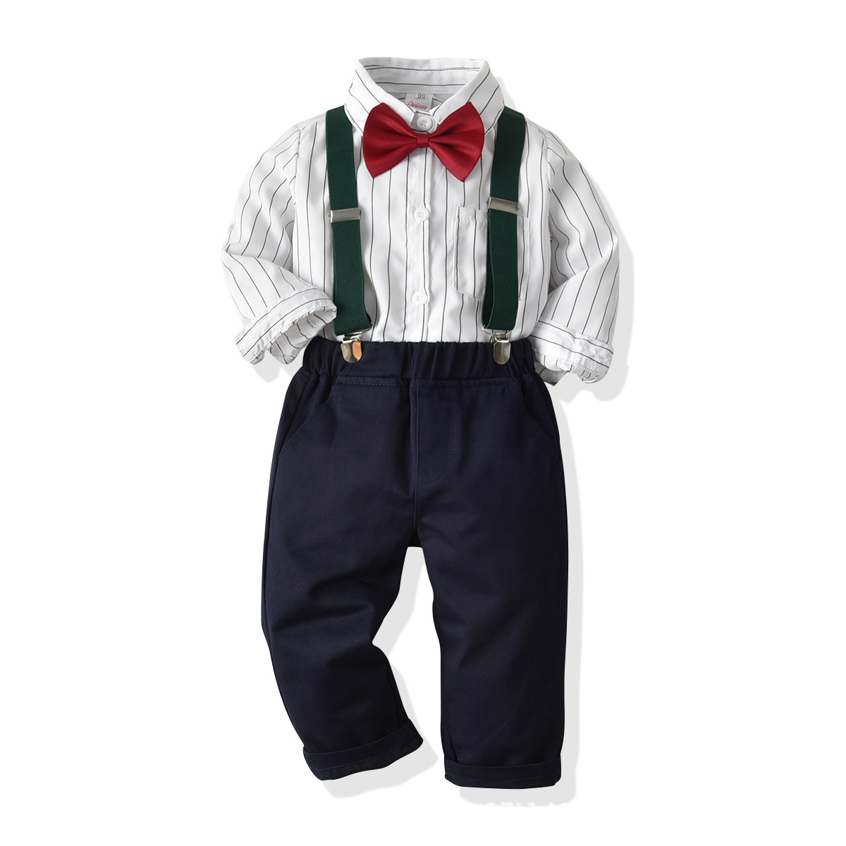 2019 newest design baby boy blouse and bib pants clothing gentleman suit with factory wholesale price