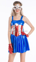 Womens Captain America Costume Ladies Fancy Dress Super Hero Outfit UK 8-14