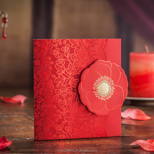 Chinese Classic Laser Cut card Elegant Folded Wedding Invitation card