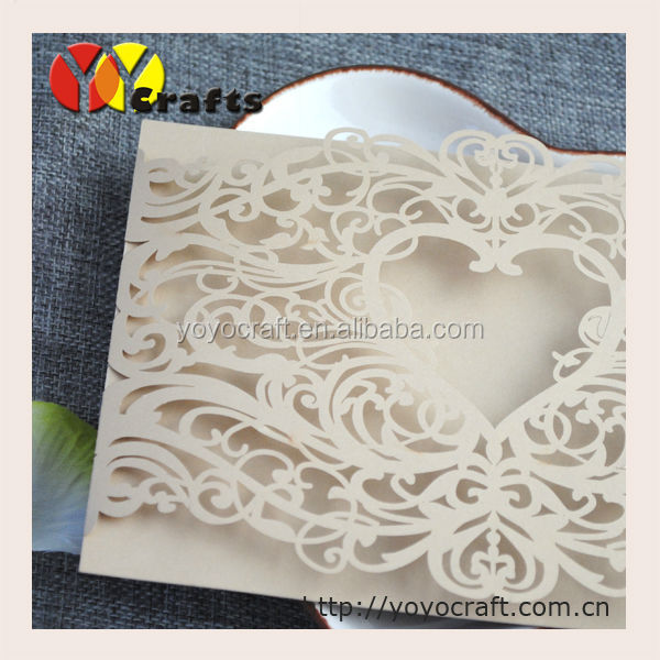 Unique paper heart Laser Cut Wedding Invitation Card, Invitation Card for Wedding