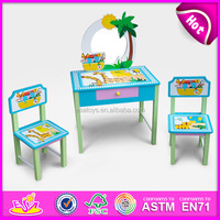 New and popular wooden school desk for kids,student table with chair school desk,wooden toy school desk for children WJ278603