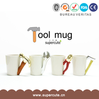 Unique Design white blank ceramic mug with special tool shape handle for Christmas gift