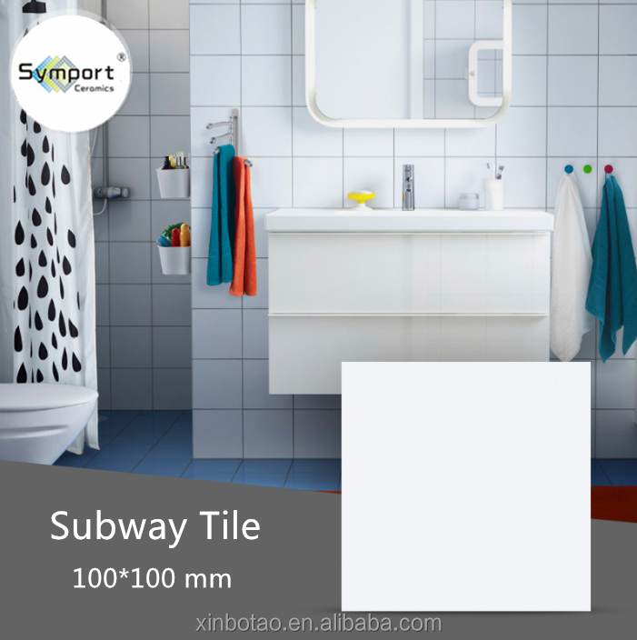 ceramic subway tile indoor white single color matte kitchen wall tiles 100x100mm