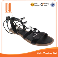 New Design Sexy Lace Up Women Cotton Paraffined Rope Straps Sandals Ladies Gladiator