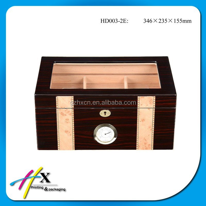 Luxury Spanish Cedar Wooden Humidor with Removable Tray,Glass Window