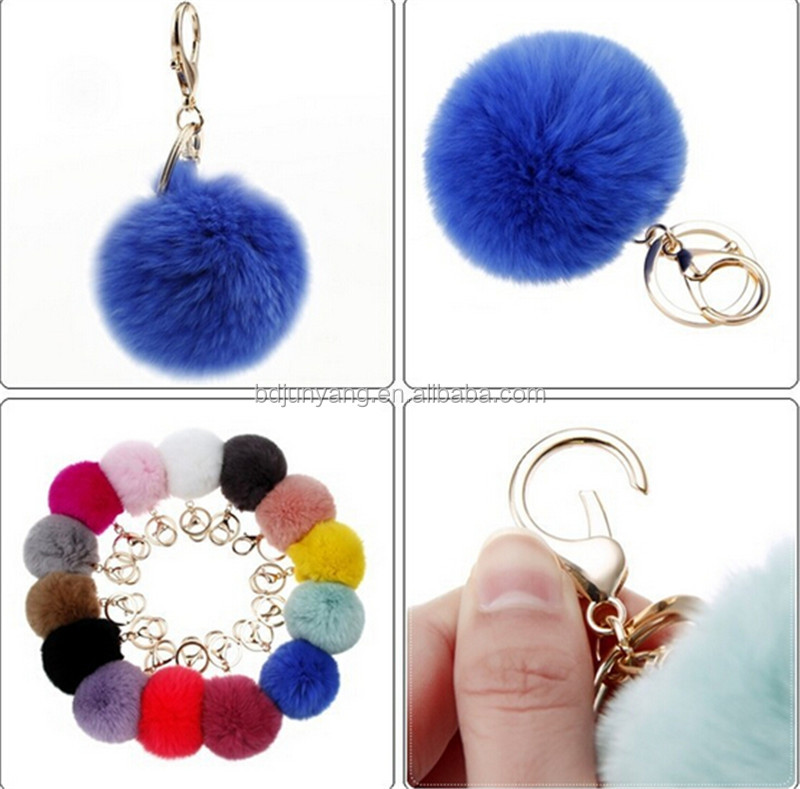Different dyed colors rabbit fur ball pom key ring