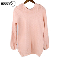 Girl's loose fashion knitwear big yards women's hooded long sleeve pullover knit sweater coat