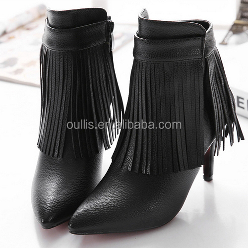 2016 factory price shoes ankle boots with tassels high heel boots PQ4038