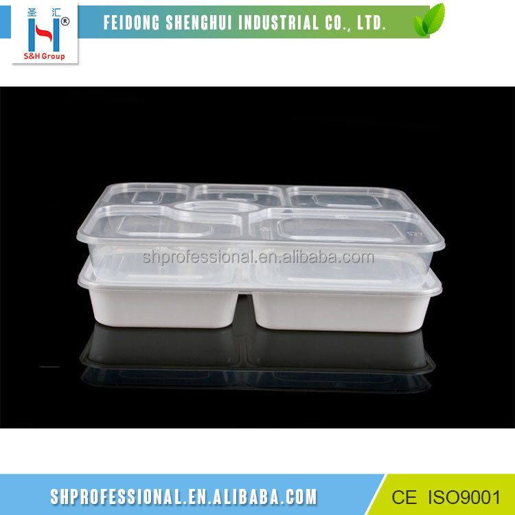 Customized Microwave Pp 6 Compartments Biodegradable Disposable Food Container