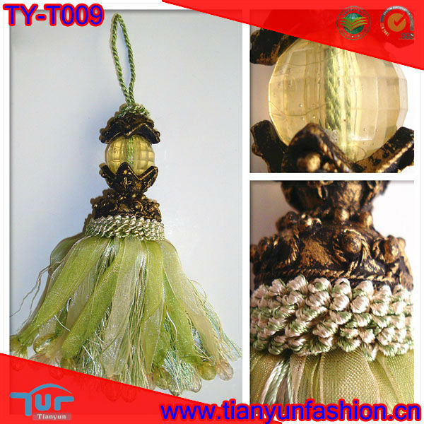 light green ribbon beads cheap tassel for curtain decoration