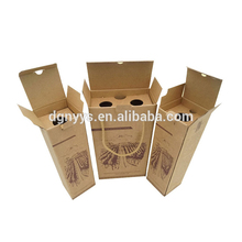 Printing Custom High Quality 2 Bottle Wine Cardboard Bottle Carrier, Cheap Wholesale Luxury Wine Packaging Box