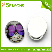 30PCs Butterfly Pattern Oval Glass Dome Stickers Kawaii Cabochon Wholesale