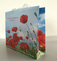 cheap recyclable custom printing grocery advertising gift shopping tote bags