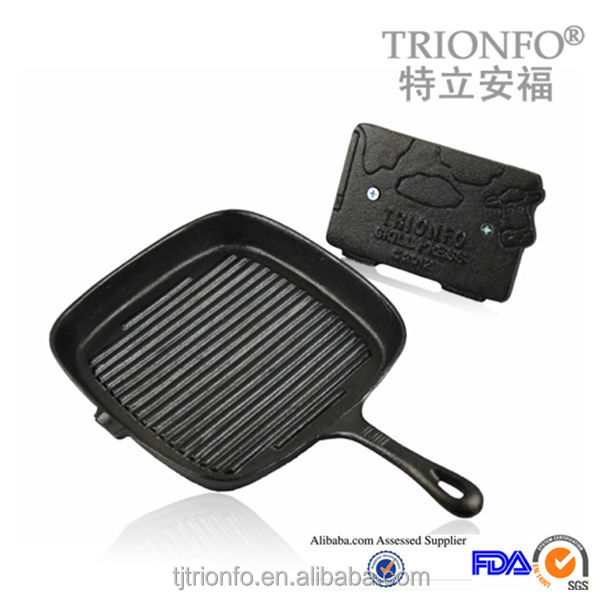 Thread interior bottom Black pre-seasoned rectangular cast iron grill pan