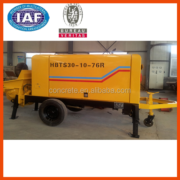 trailer concrete pump has 20m3/h with the best power, pumping,electric control, lubrication,hydraulic system