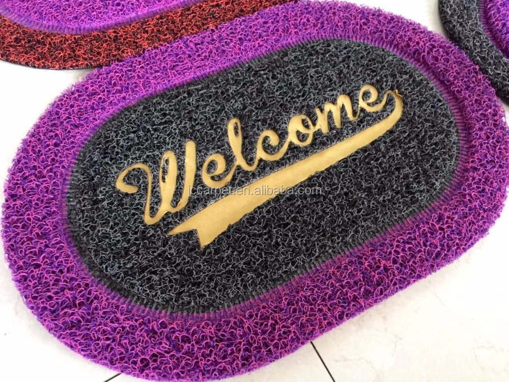 New design welcome print cheap rubber entrance cleaning foot mat