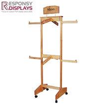 Hot Style 4 Way 4 Wheels Wooden Clothes Or Scarf Display Rack