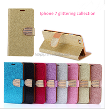 new design shinning pu leather stand mobile phone case for iphone 6