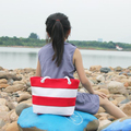 Wholesale Custom kids Beach Bag Fashion Striped Canvas Tote Bag Shoulder Bag Waterproof Lining