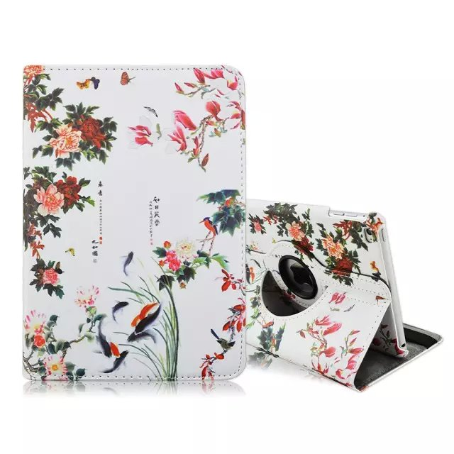 360 Rotary Stand Flip Flower Print PU Leather Case For iPad Mini 4