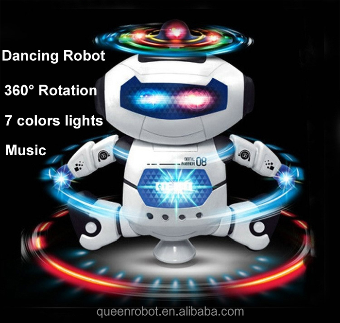 Children toys 360 degree rotation + music + light cute plastic electric robot for kids