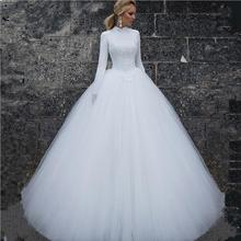 K3642A Customized Long Sleeves Muslim Wedding Dress Latest Bridal Gown Luxury Arabic Wedding Dress 2018