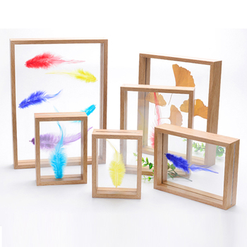 Natural Wood Finished Decorative Double Sided Glass Float Frame
