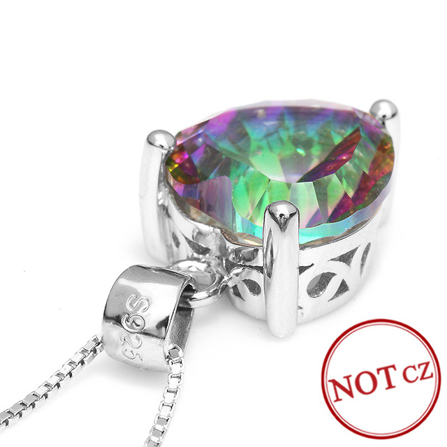 HEART 3.8ct Genuine Natural Rainbow Fire Mystic Topaz Pendant Concave Solid Pure 925 Solid Sterling Silver For LOVE Mother Girl