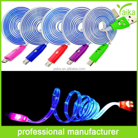 Wholesale USB cable 5 Colors Newest Visible LED Light USB Cable for iPhone 5 5s 5c iPod Pad Sumsang HTC - USB charger